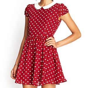 Maroon and white polka dot collared dress